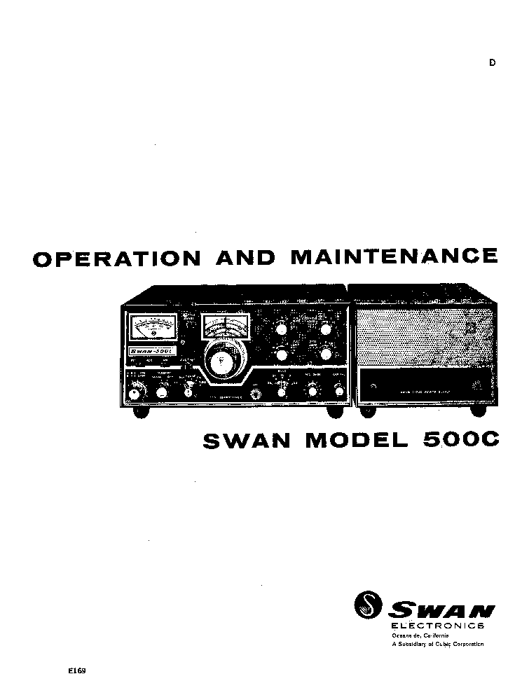SWAN MODEL 500C TRANSCEIVER LATE MODEL Service Manual