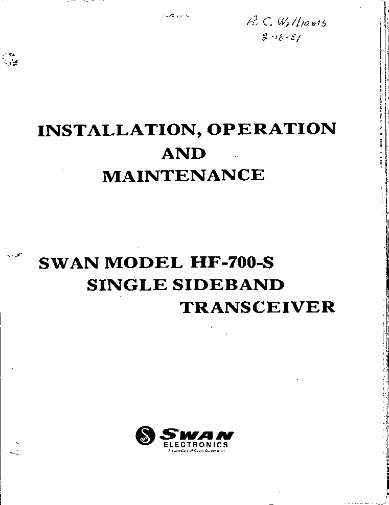 SWAN MODEL HF-700S TRANSCEIVER Service Manual download