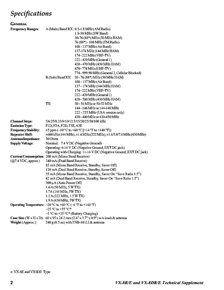 VERTEX VX-8R VX-8DR SM Service Manual download, schematics