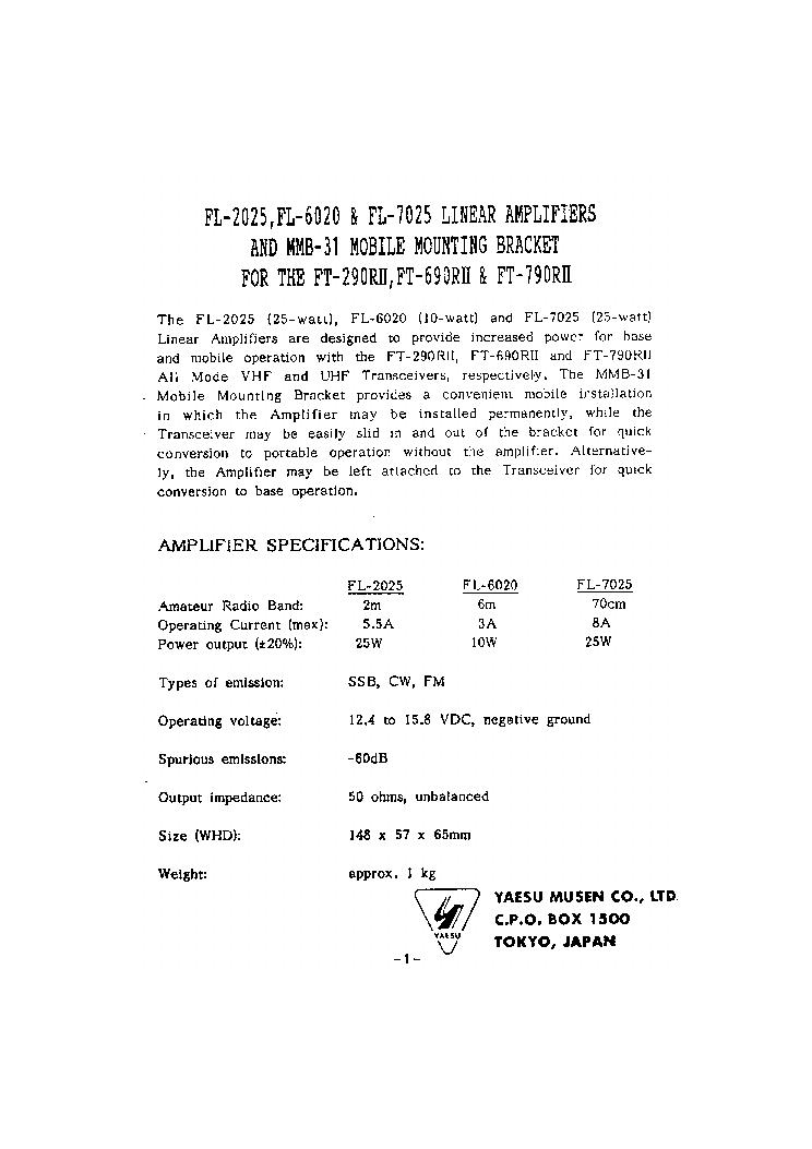 YAESU FT-747 Service Manual download, schematics, eeprom