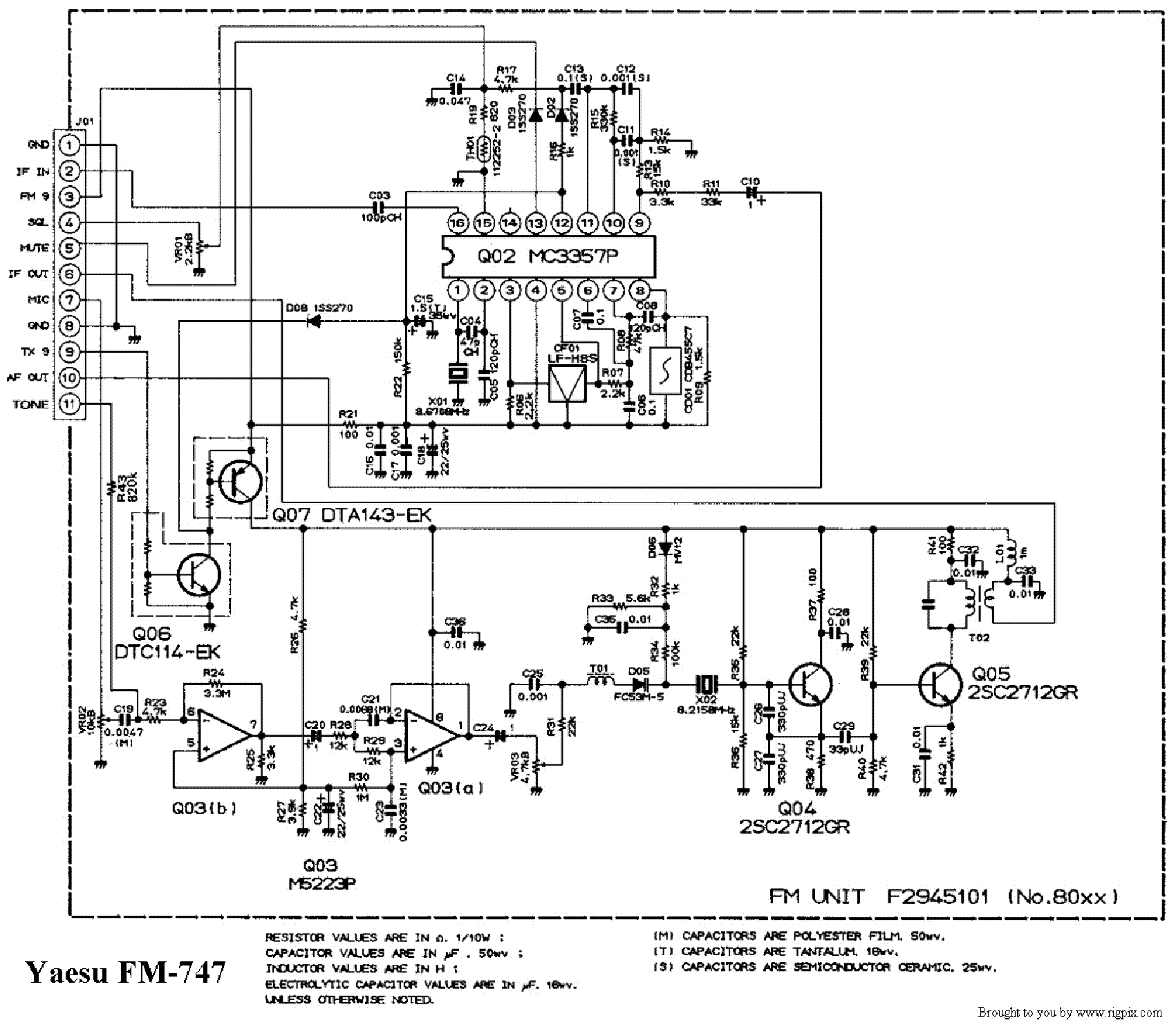 YAESU FM747 SCH Service Manual download, schematics
