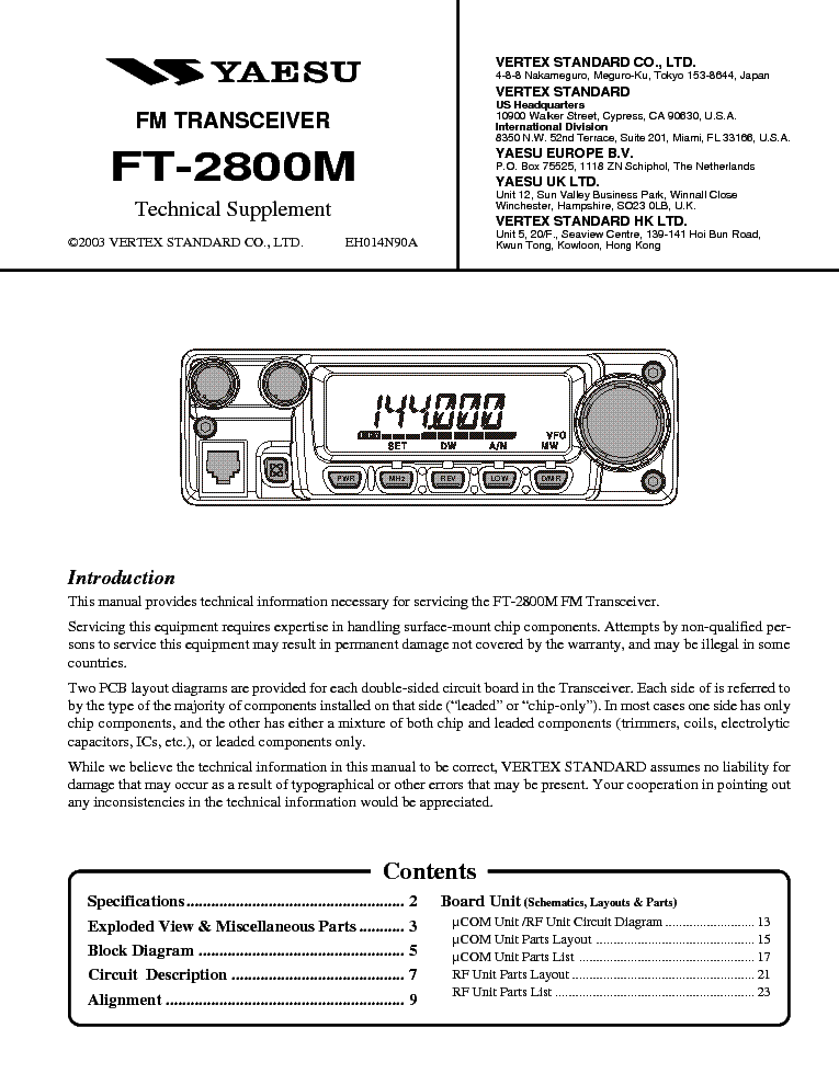 YAESU FT-2800M Service Manual download, schematics, eeprom