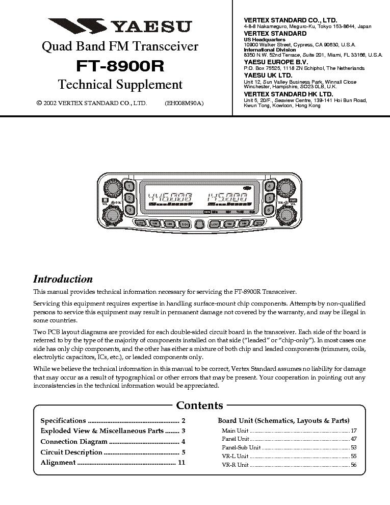 YAESU FT-8900R Service Manual download, schematics, eeprom