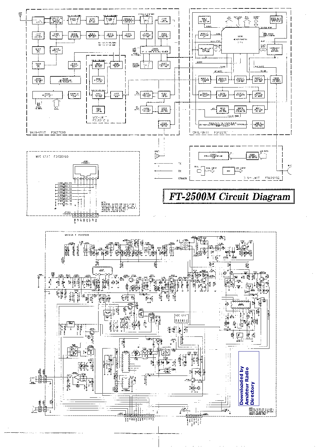 YAESU FT2500M Service Manual download, schematics, eeprom