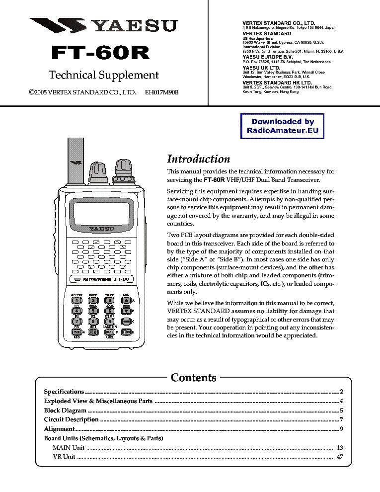 YAESU FT60 Service Manual download, schematics, eeprom