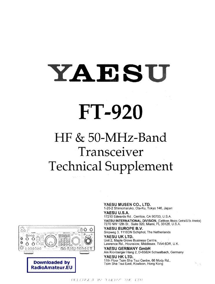 YAESU FT920 Service Manual download, schematics, eeprom
