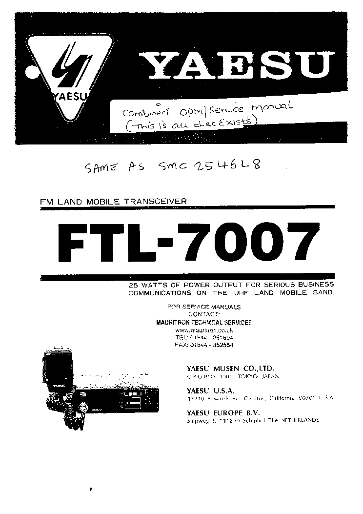 YAESU FTL-7007 Service Manual free download, schematics