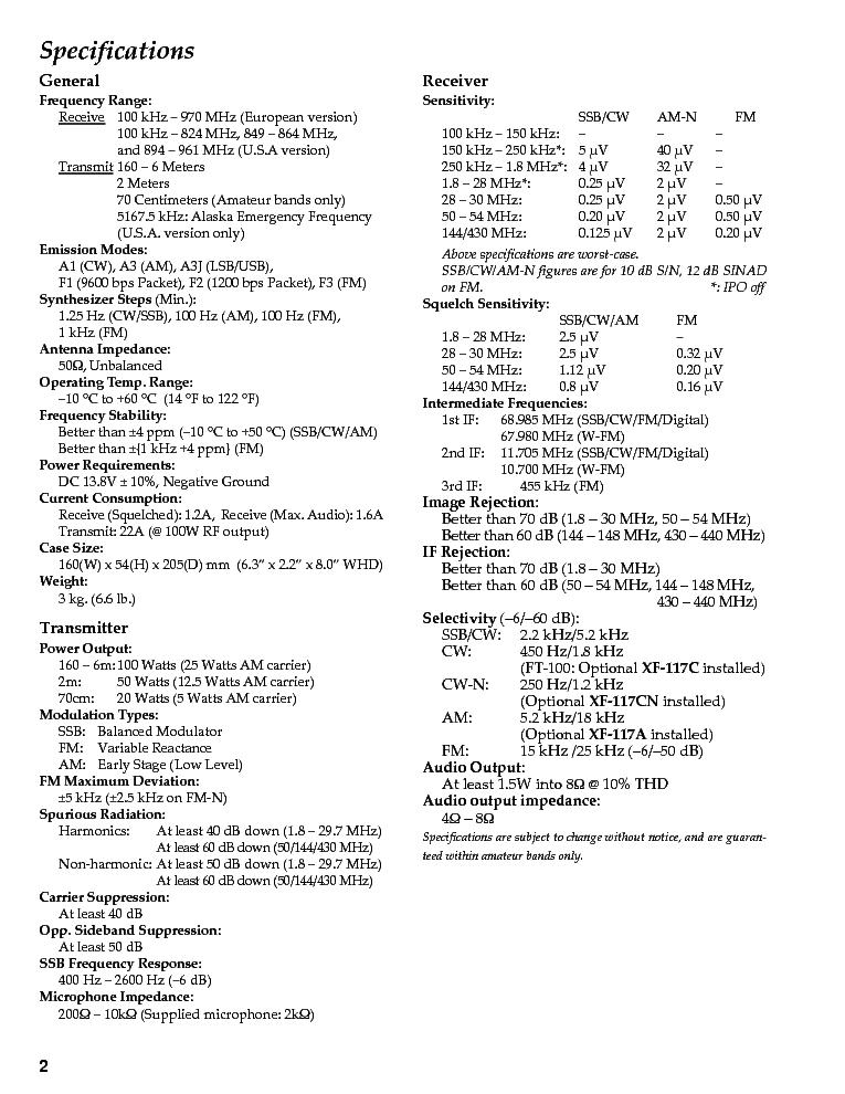YAESU VERTEX FT100 FT100D SM Service Manual download