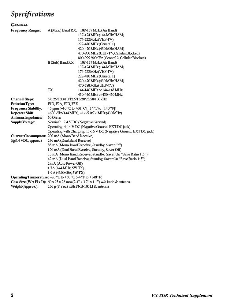 YAESU VERTEX VX-8GR SM Service Manual download, schematics
