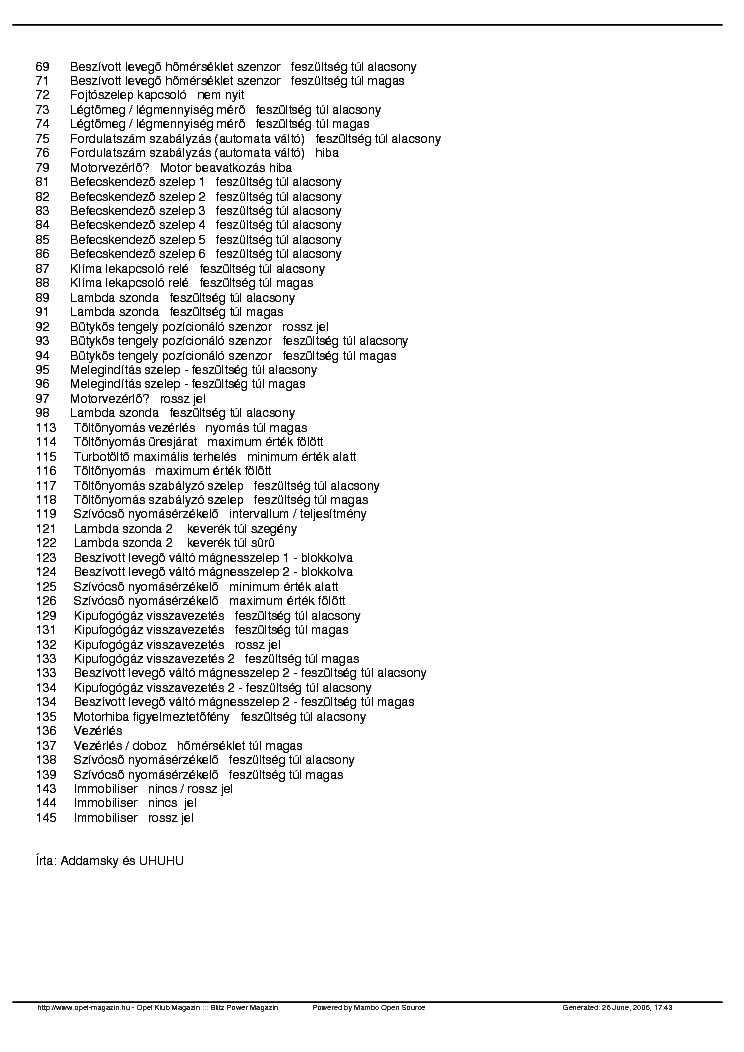 OPEL ASTRA F HIBAKODOK Service Manual download, schematics