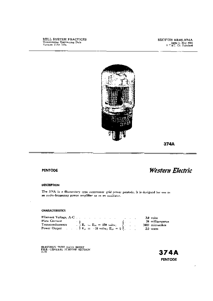 WESTERN ELECTRIC VACUUM TUBE DATA 1950 Service Manual