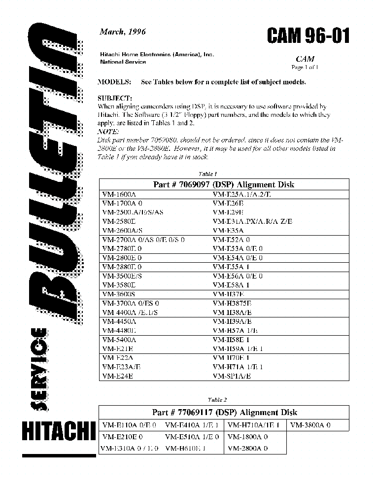 HITACHI VM-H39A 93-27SB Service Manual download