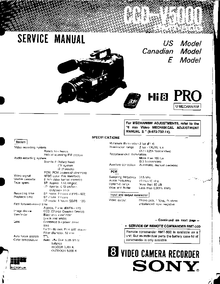 SONY CCD-V5000 Service Manual download, schematics, eeprom