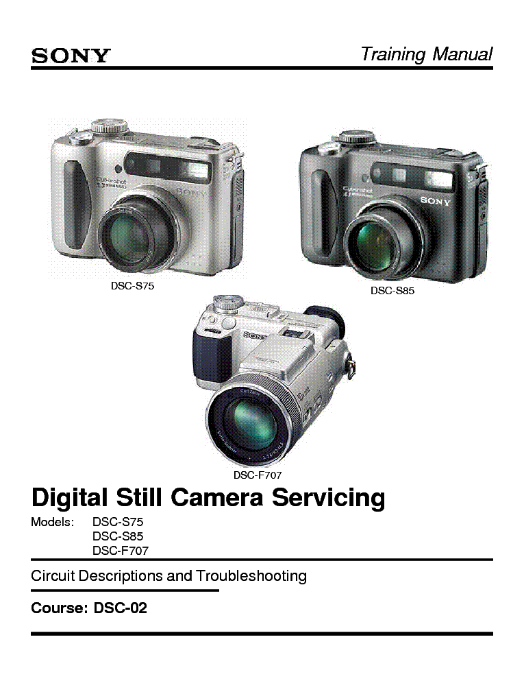 SONY DSC-02 DIGITAL STILL CAMERA TRAINING MANUAL Service