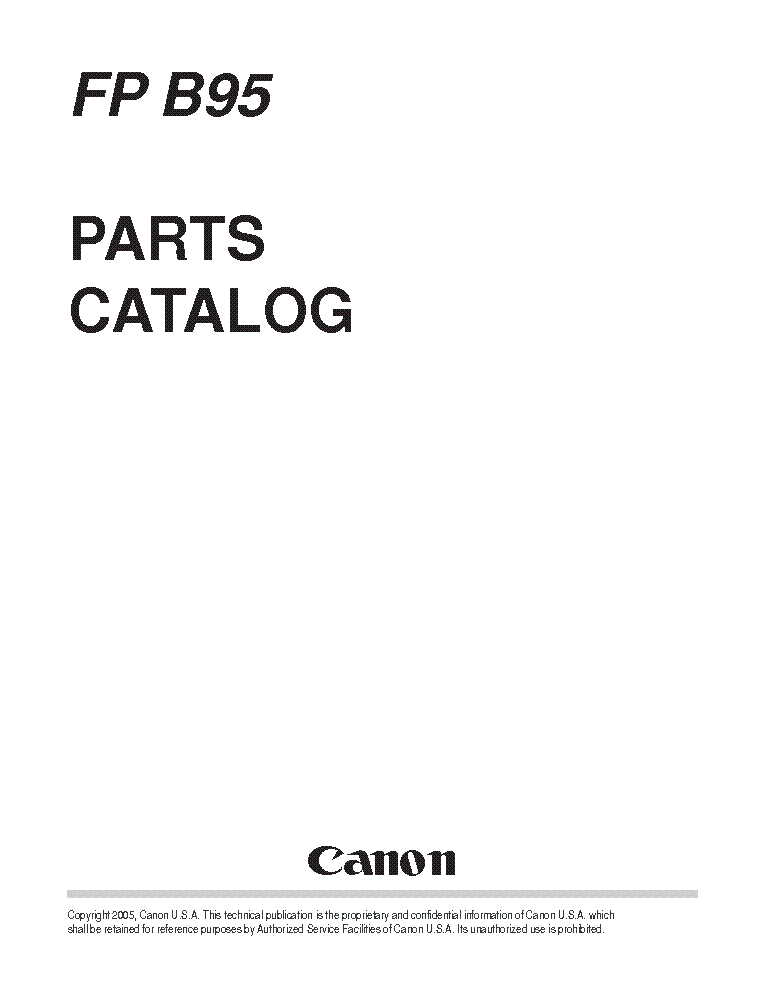 CANON B140 B150 B160 B170 FAXPHONE PARTS Service Manual