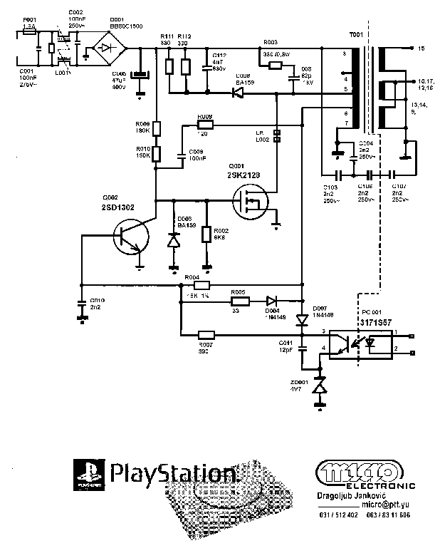 SONY SCPH-1002 PLAYSTATION POWER-SUPPLY SCH Service Manual