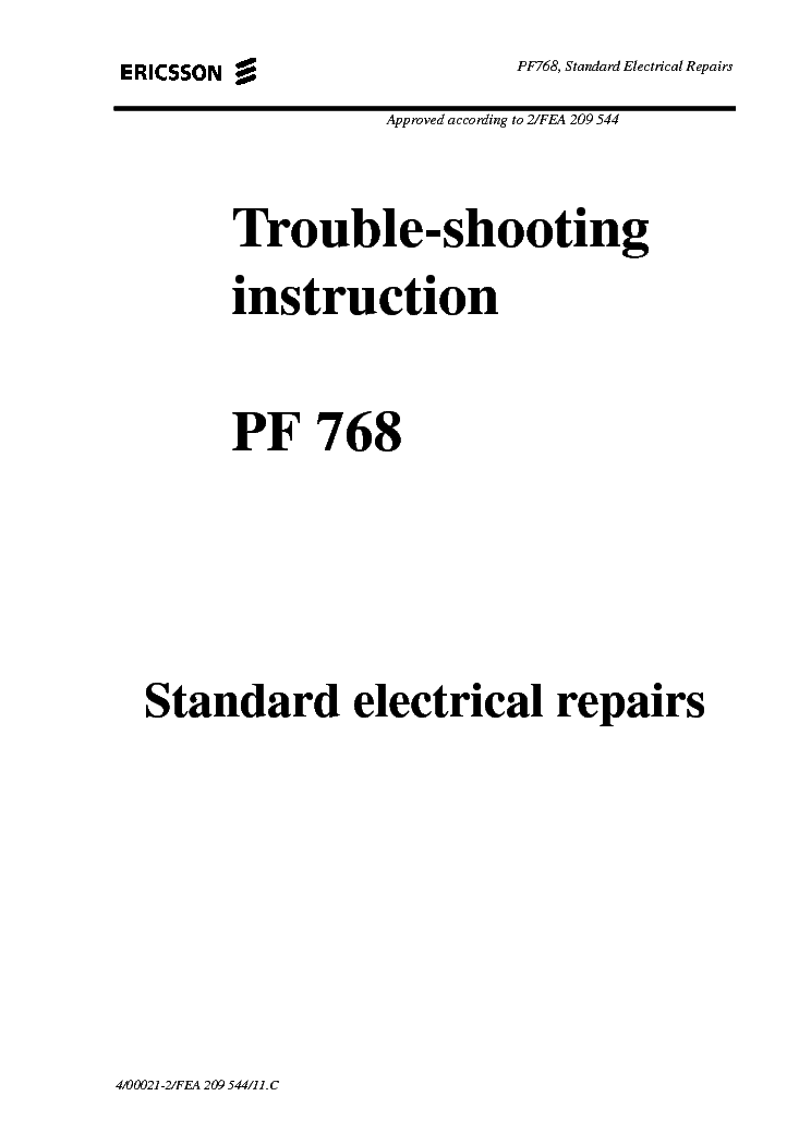 ERICSSON PF-768 TROUBLE-SHOOTING 1 Service Manual download