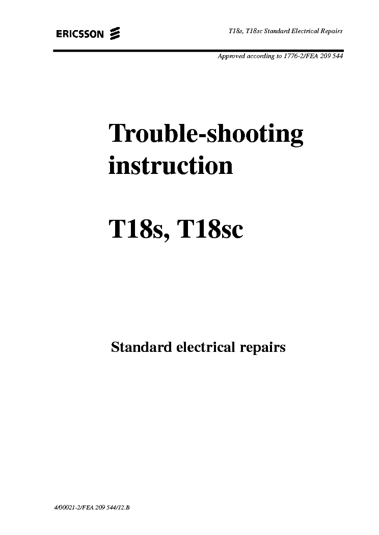 ERICSSON T18S T18SC TROUBLE-SHOOTING Service Manual