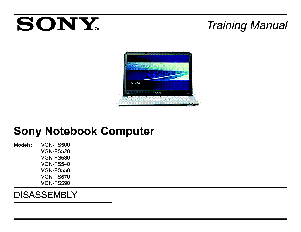 SONY VAIO VGN-FS500 520 530 540 550 570 590 TRAINING