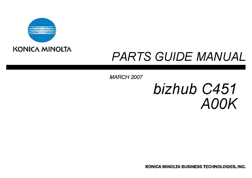 KONICA BIZHUB C451 A00K PARTS GUIDE Service Manual