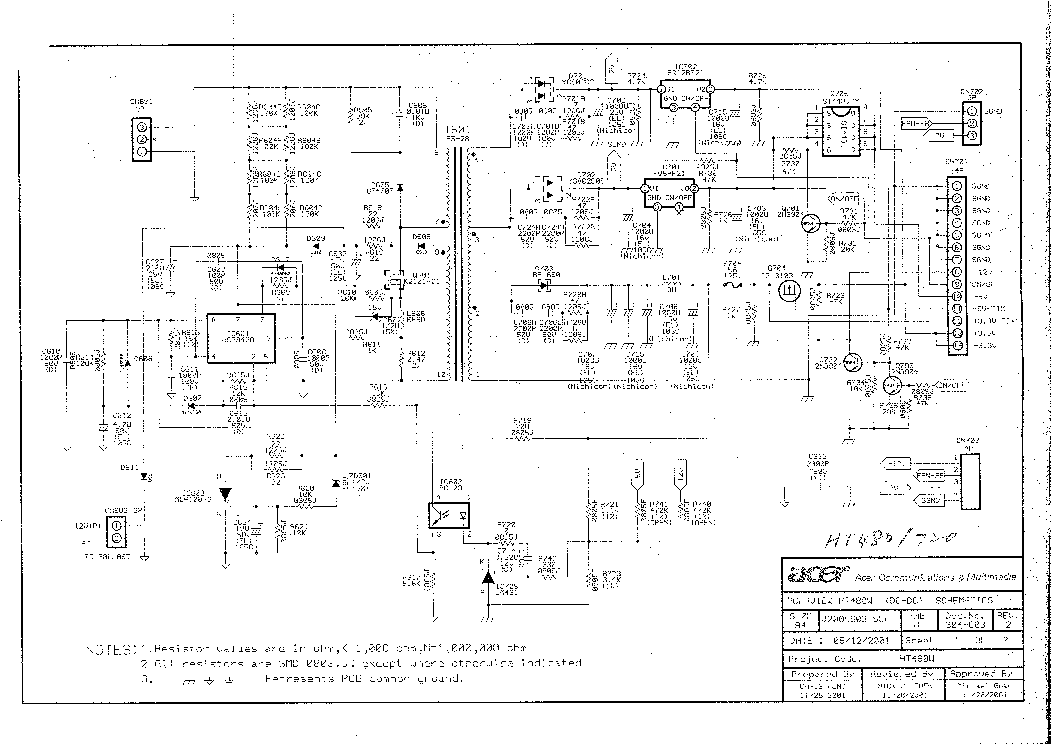 BENQ PE8700 POWER SUPPLY SCH Service Manual download