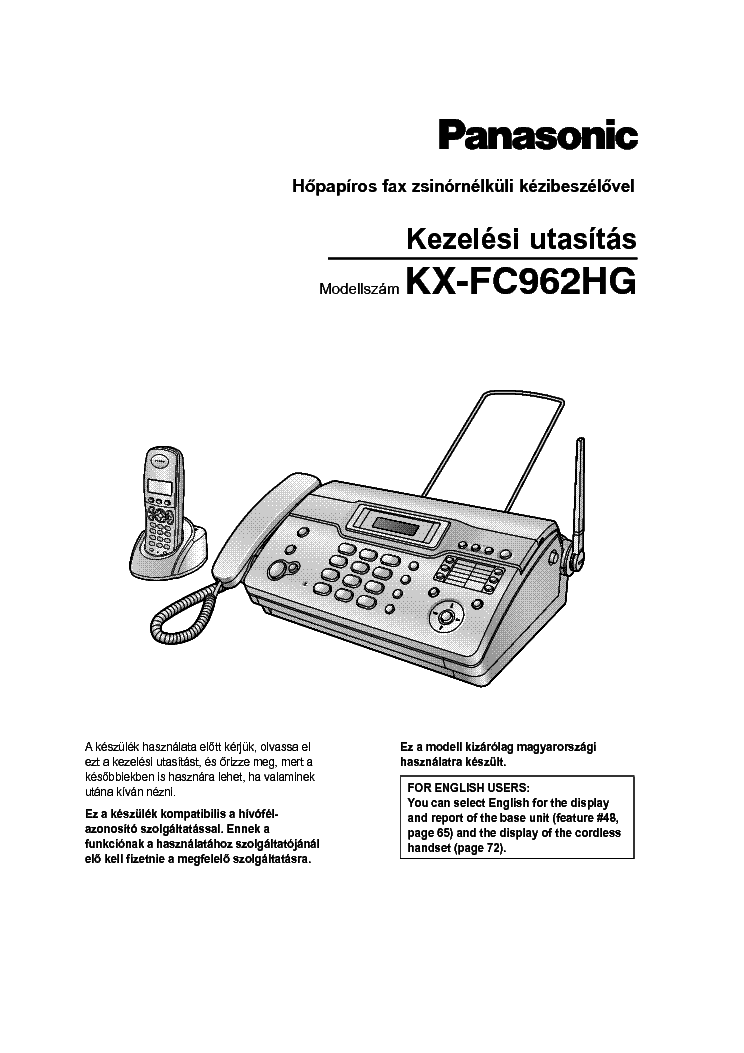 PANASONIC KX-FC962HG Service Manual download, schematics, eeprom, repair info for electronics