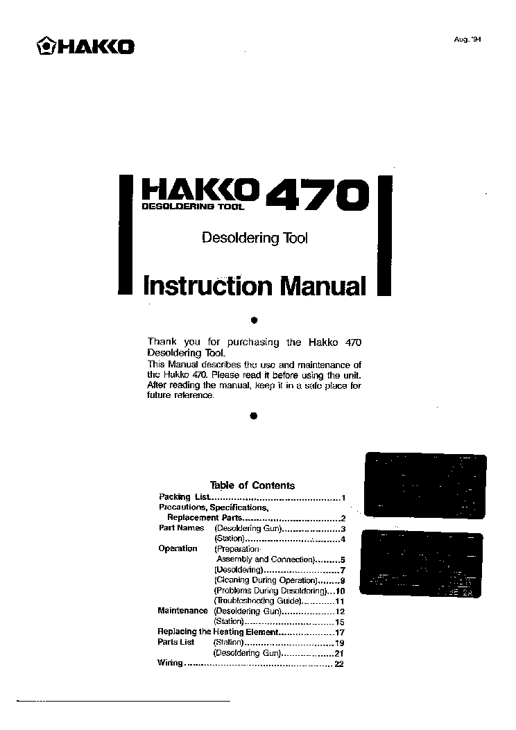 HAKKO 470 Service Manual download, schematics, eeprom