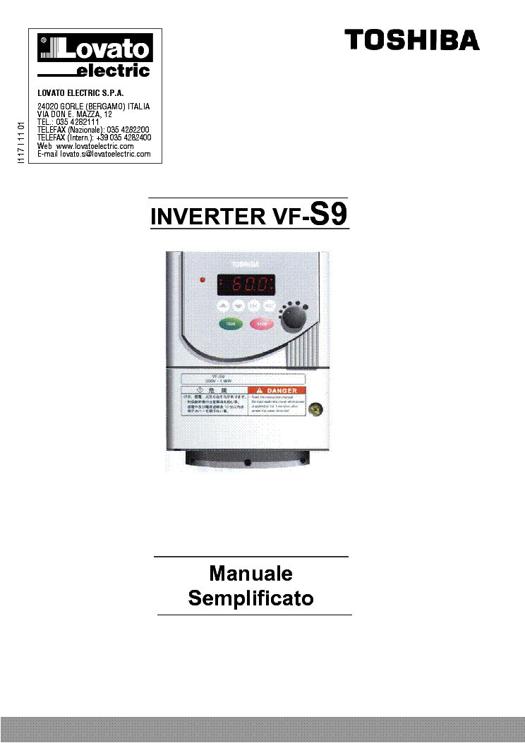 TOSHIBA INVERTER VF-S9 DRIVE USER MANUAL Service Manual
