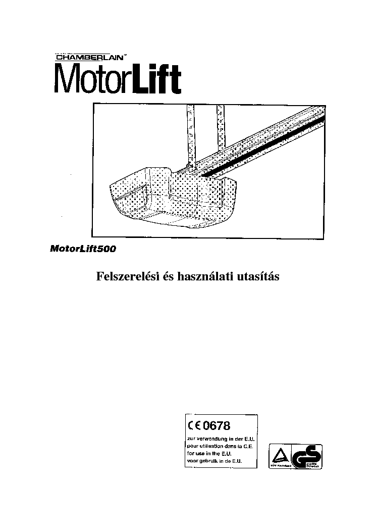 CHAMBERLAIN MOTORLIFT ML 500 HU MANUAL Service Manual