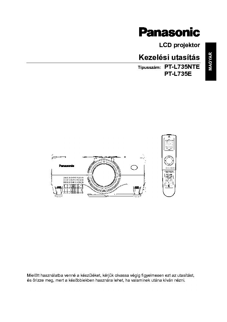 PANASONIC PT-L735NTE PT-L735E KEZELESI HUN Service Manual