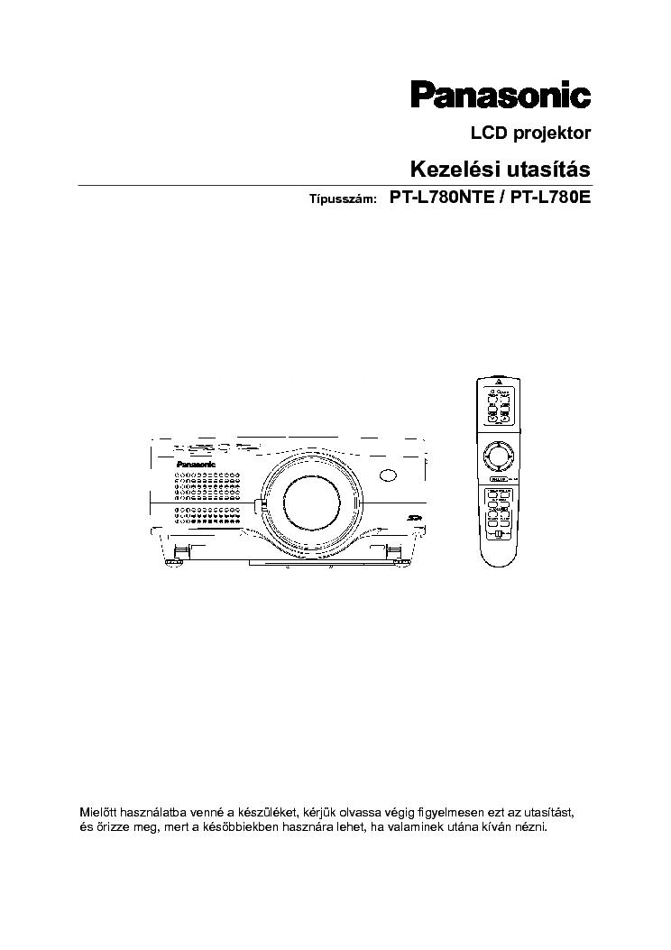 PANASONIC PT-L780NTE PT-L780E KEZELESI HUN Service Manual