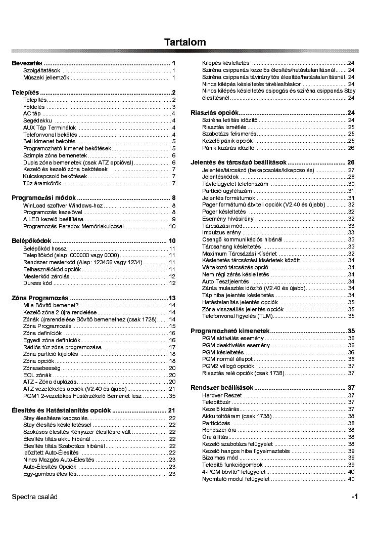 PARADOX 1728-V24 1738-V24 PROGRAMOZAS Service Manual