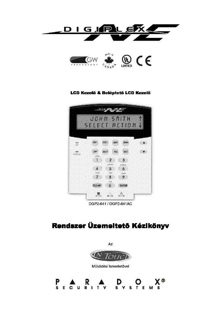 PARADOX DGP2641 NE Service Manual download, schematics