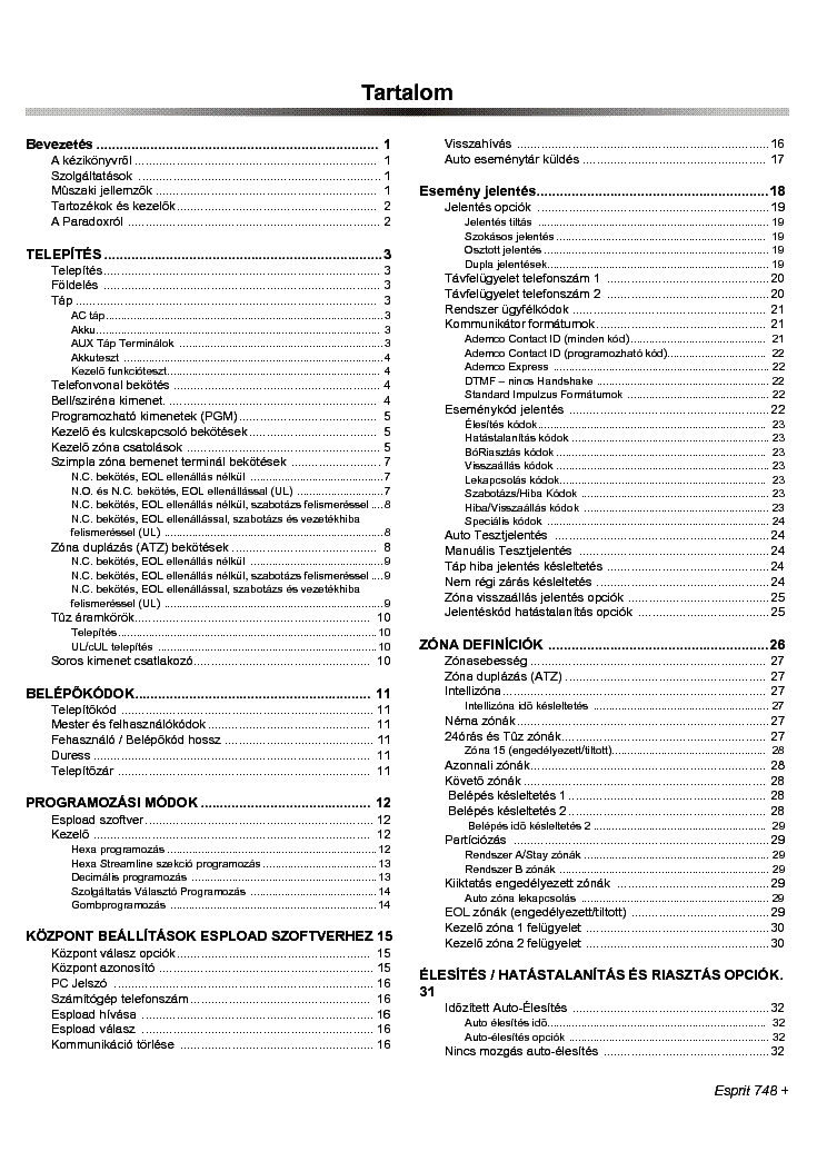 PARADOX ESPRIT 748P V32 Service Manual download