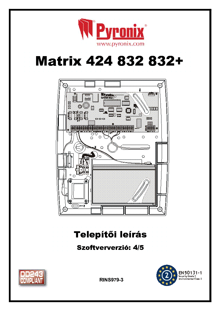 PYRONIX MATRIX 6-424-832 TELEPITOI PROGRAMOZASI 3V0 2V23