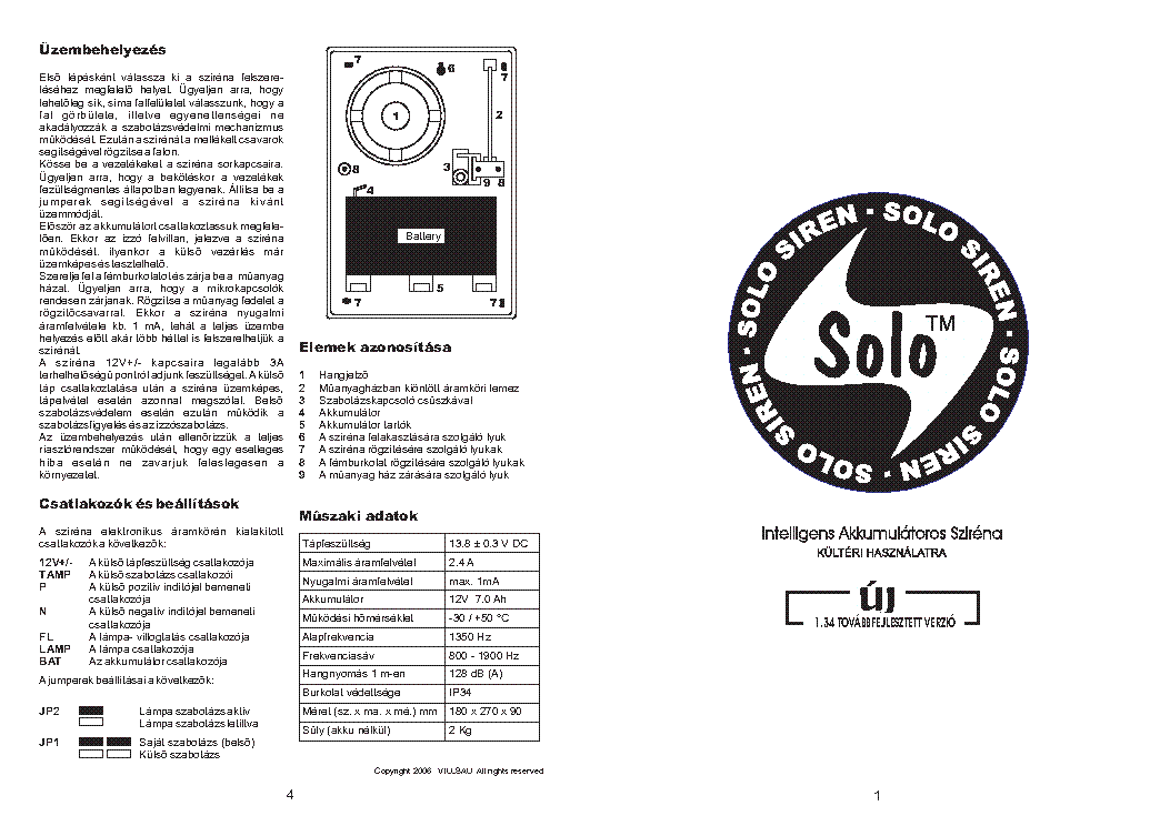 SOLO SIRENA Service Manual download, schematics, eeprom