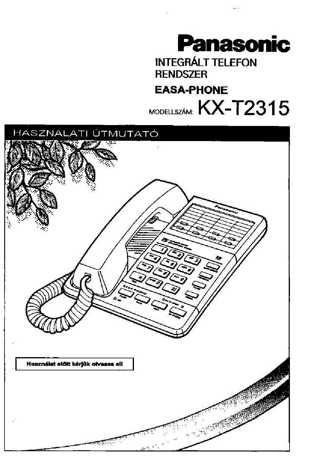PANASONIC KX-T2315 HASZNALATI HUN Service Manual download