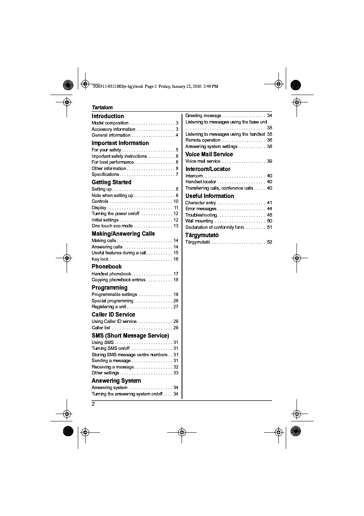 PANASONIC KX-TG6511 6521HG OI ENG Service Manual download
