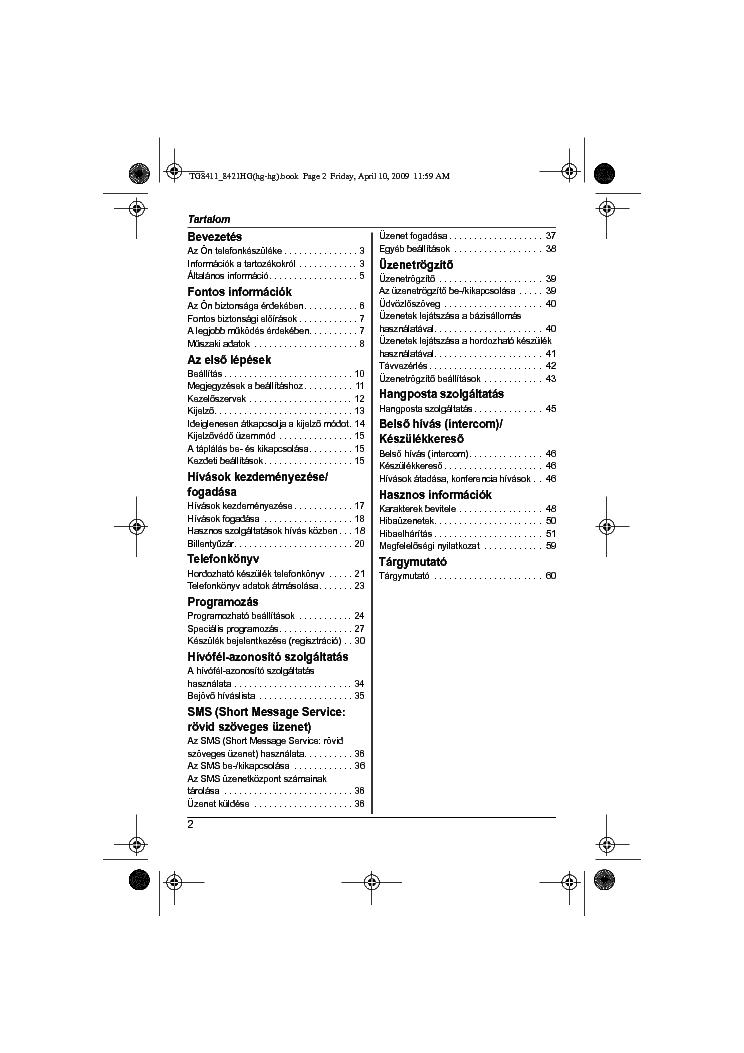 PANASONIC KX-TG8411 8421HG Service Manual download
