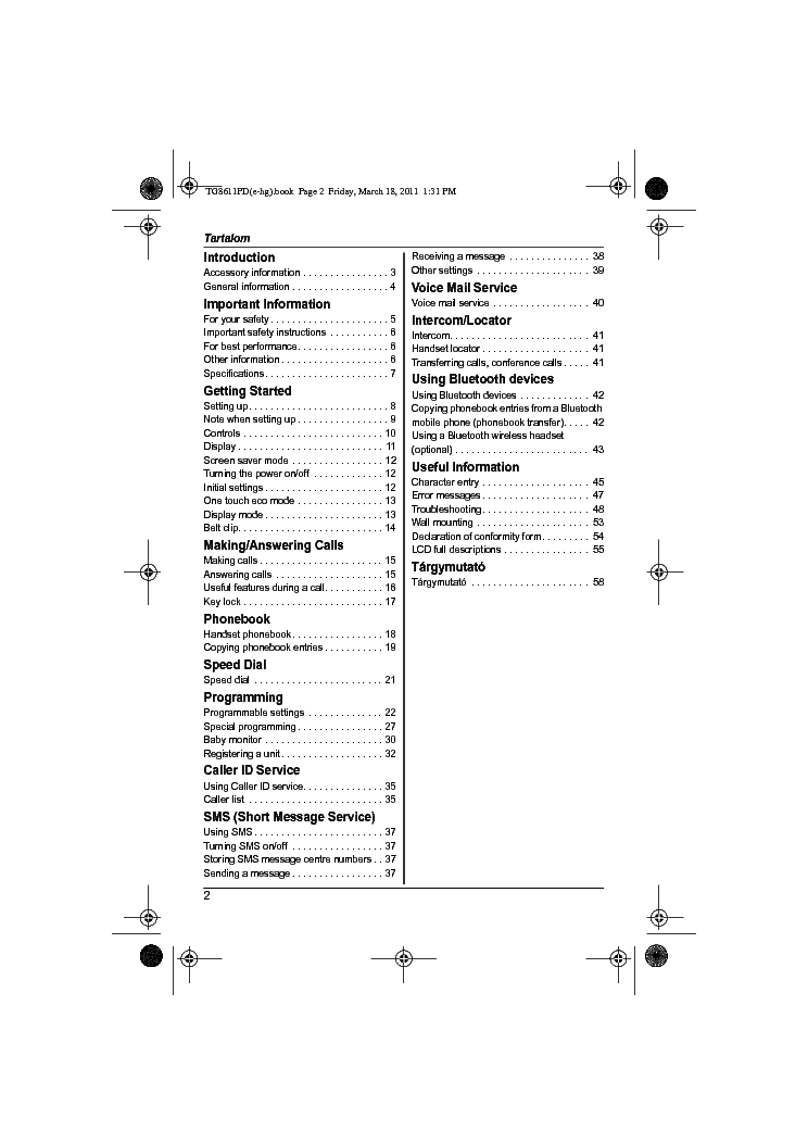 PANASONIC KX-TG8611PD OI ENG Service Manual download