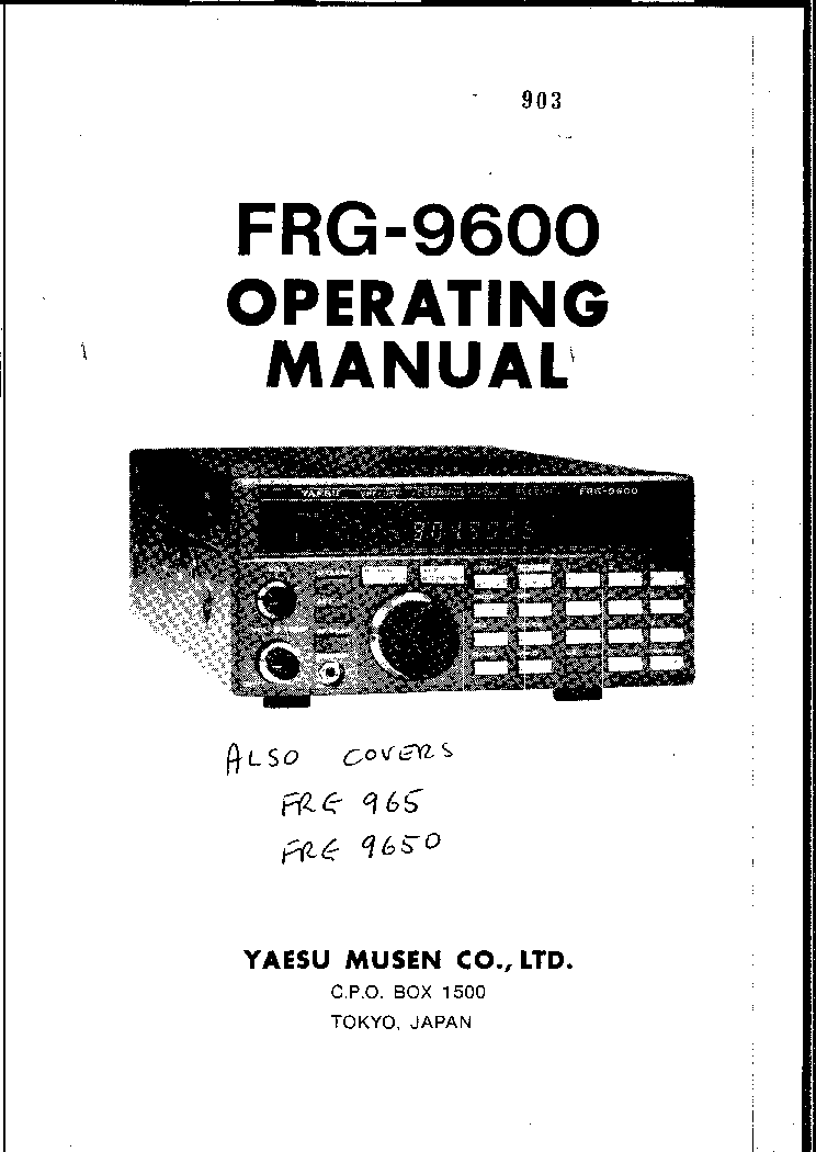 YAESU FRG-9600 VHF-UHF SCANNER RECEIVER USER MANUAL