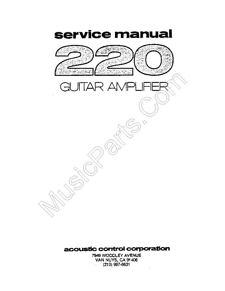 ACOUSTIC 220 GUITAR AMPLIFIER SM Service Manual download