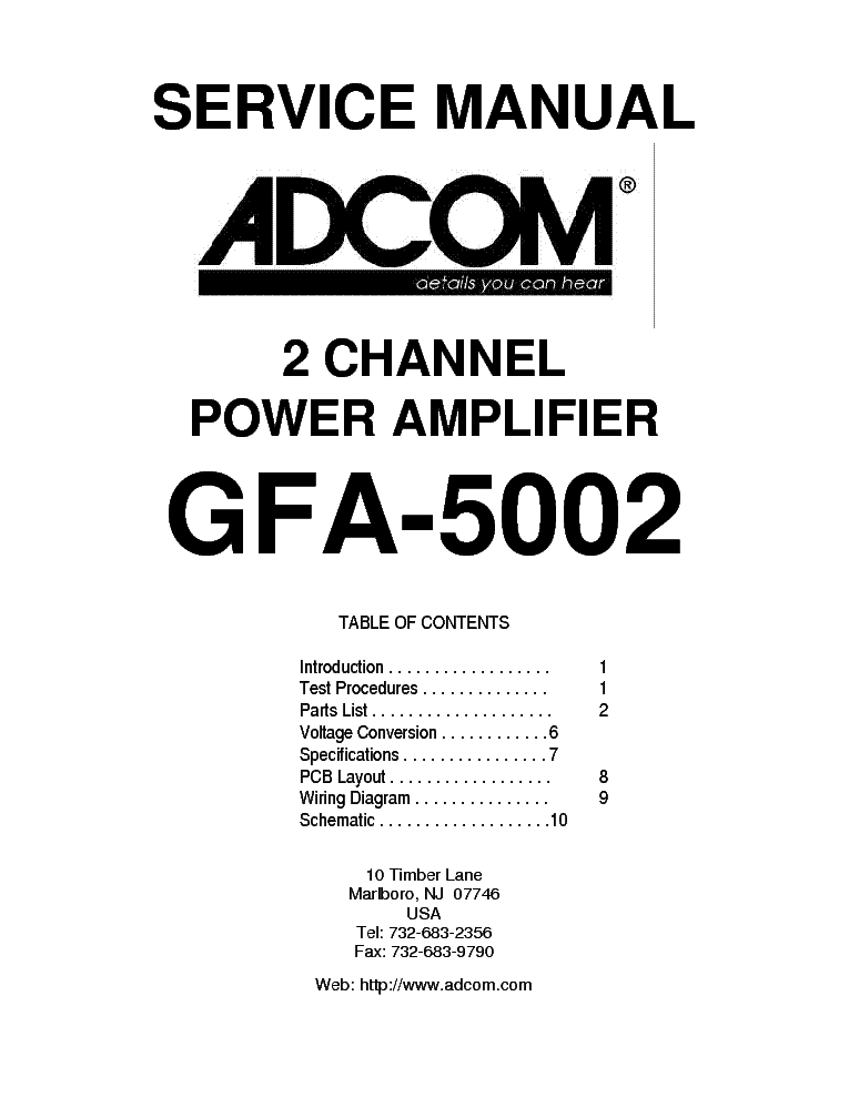 ADCOM GFA-5802 SCH Service Manual download, schematics