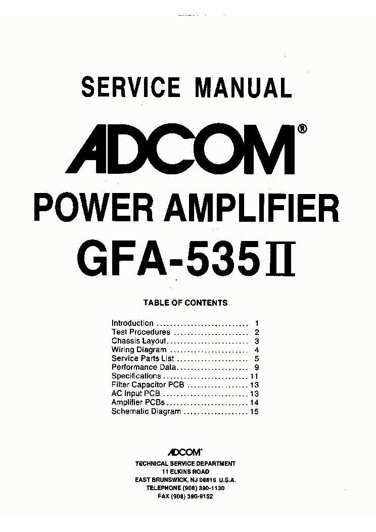 ADCOM GFA-535II Service Manual download, schematics