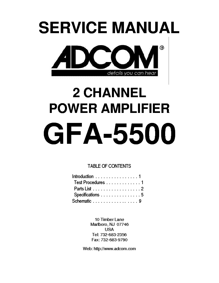 ADCOM GFA-5500 SM Service Manual download, schematics