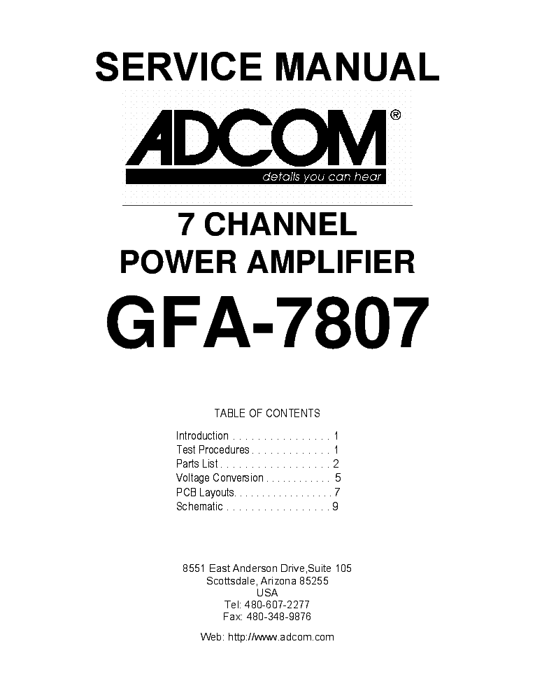ADCOM GTP-450 TUNER PREAMP Service Manual download