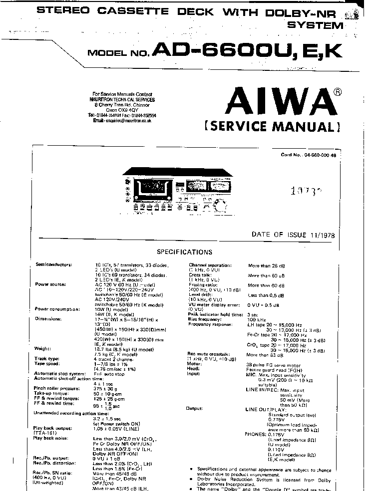 AIWA XK-009 SM 1 Service Manual download, schematics
