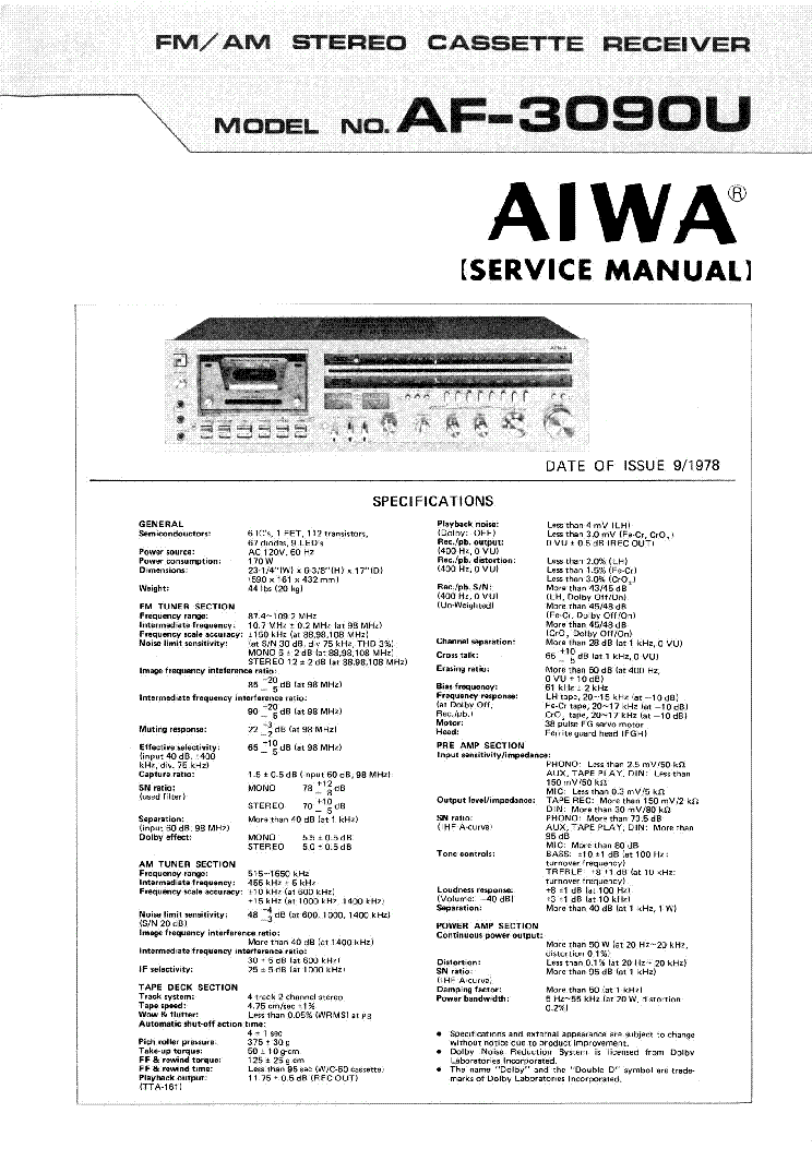 AIWA CX-NV300 SM Service Manual download, schematics