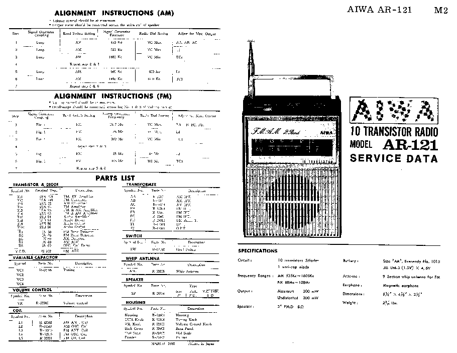 AIWA AR-121 SM Service Manual download, schematics, eeprom
