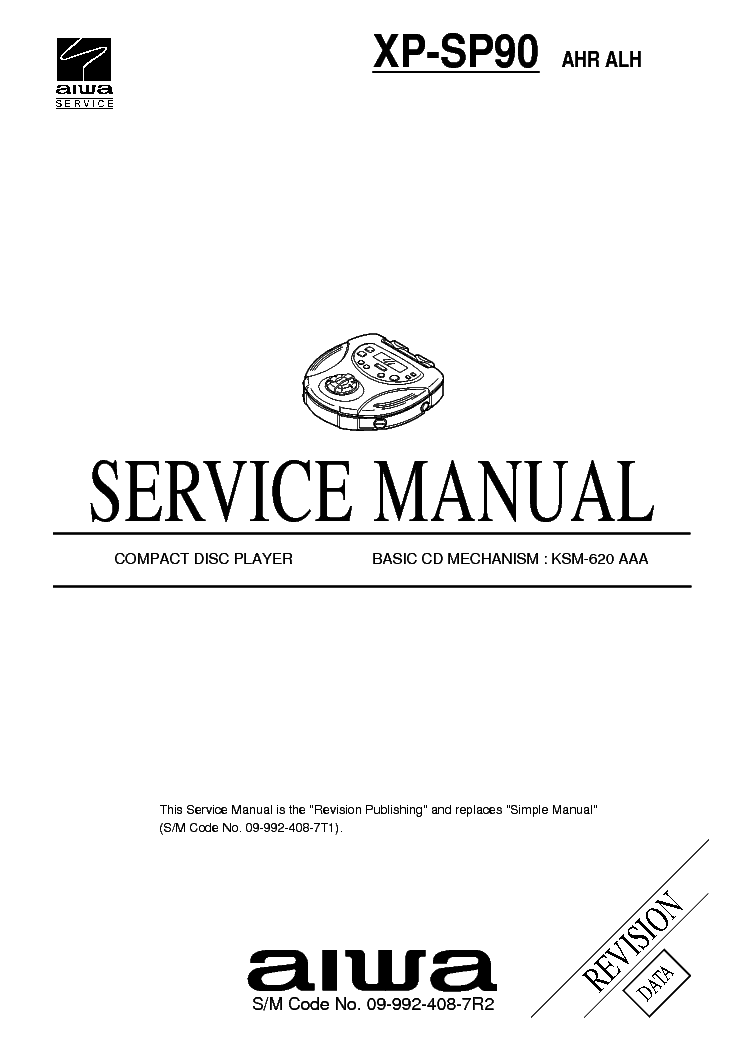 AIWA CD XP-SP90AHR Service Manual download, schematics
